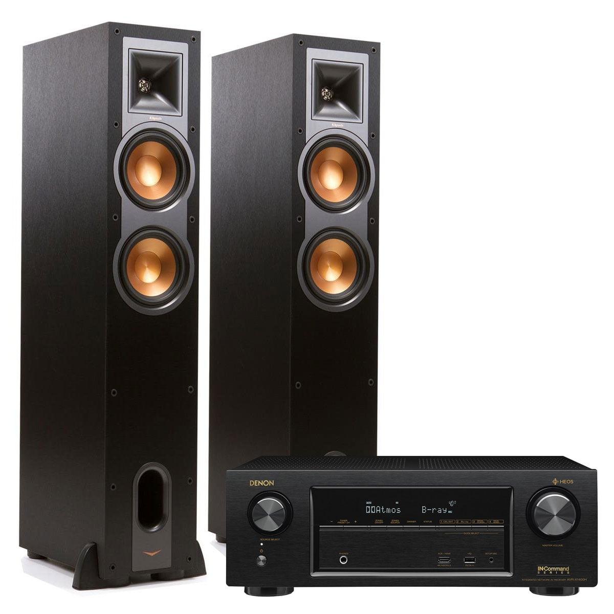 Denon AVR-X1400H 7.2 Channel AV Receiver with HEOS and Klipsch R26F Floorstanding Speakers Pair (Black) by Denon