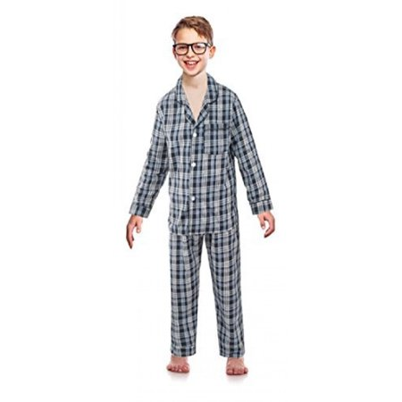 Bill Baileys Sleepwear Big Boys Button Front Woven Pajama Set (14, Navy)