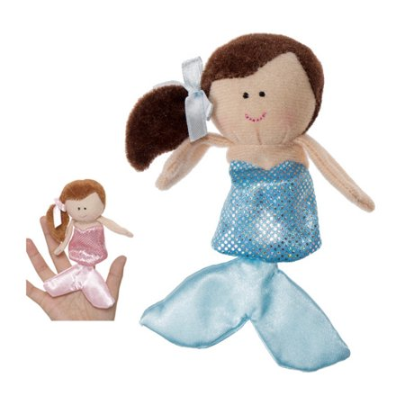 Blue Finger Puppet (Brown Haired Mermaid With Light Blue Dress Finger Puppet - By Ganz)