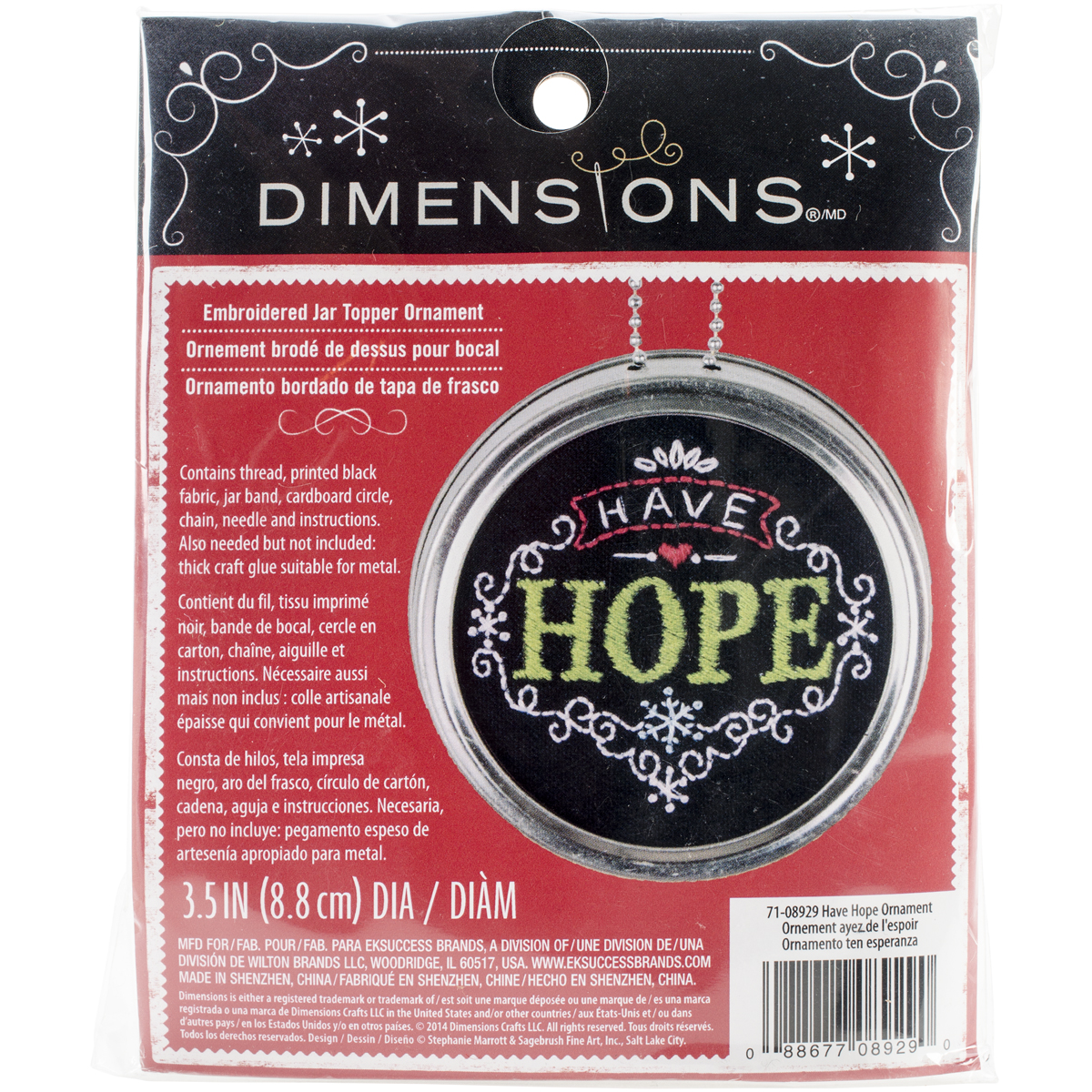 Dimensions Have Hope Ornament Stamped Embroidery Kit, 3.5-Inch Diameter Multi-Colored