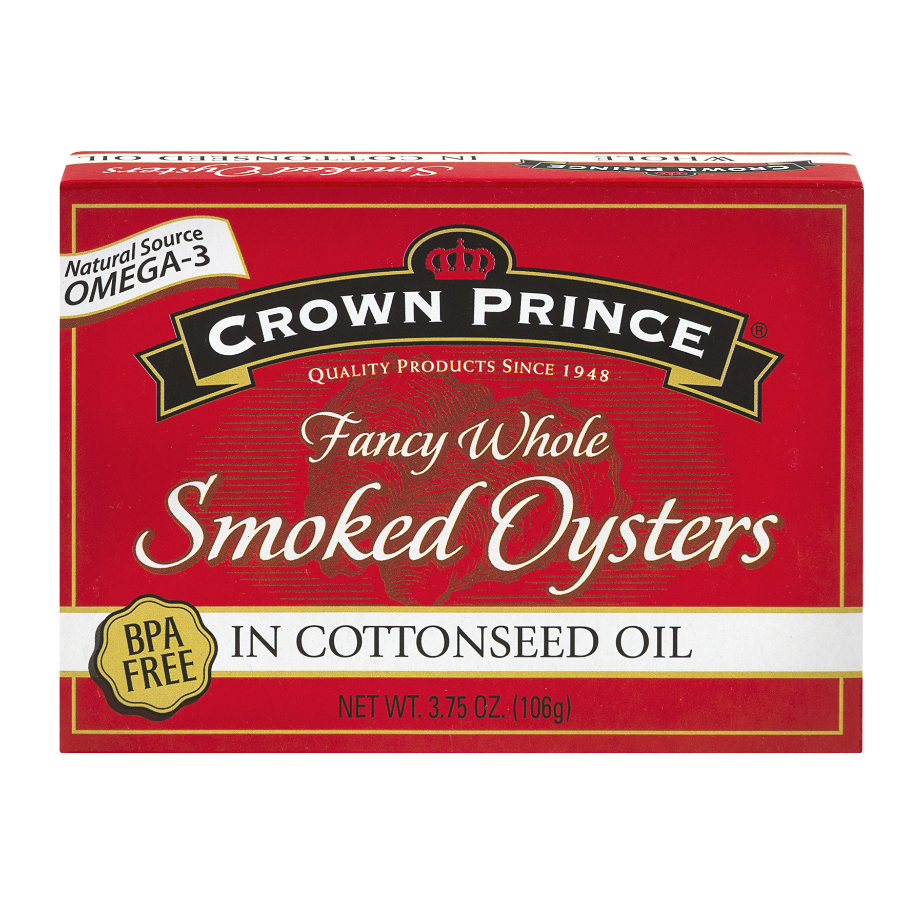 Crown Prince Fancy Whole Smoked Oysters In Cottonseed Oil, 3.75 OZ by Crown Prince
