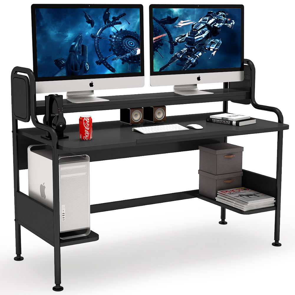 Tribesigns Computer Desk With Hutch, 55 Inch Large Gaming Desk With Storage  Shelves, Studio Workstation Desk Study Writing Table For Home Office