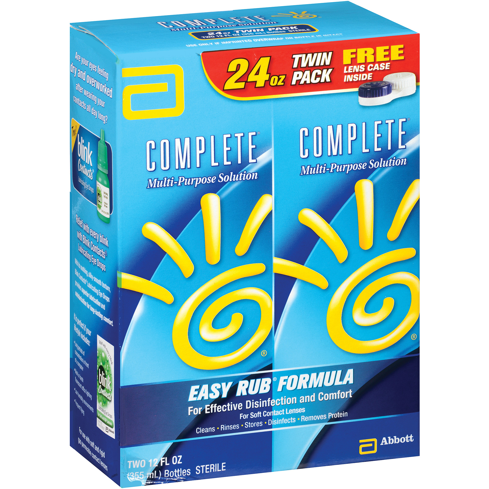 Complete Easy Rub Formula Multi-Purpose Solution with Lens Case, 12 fl oz, 2 count
