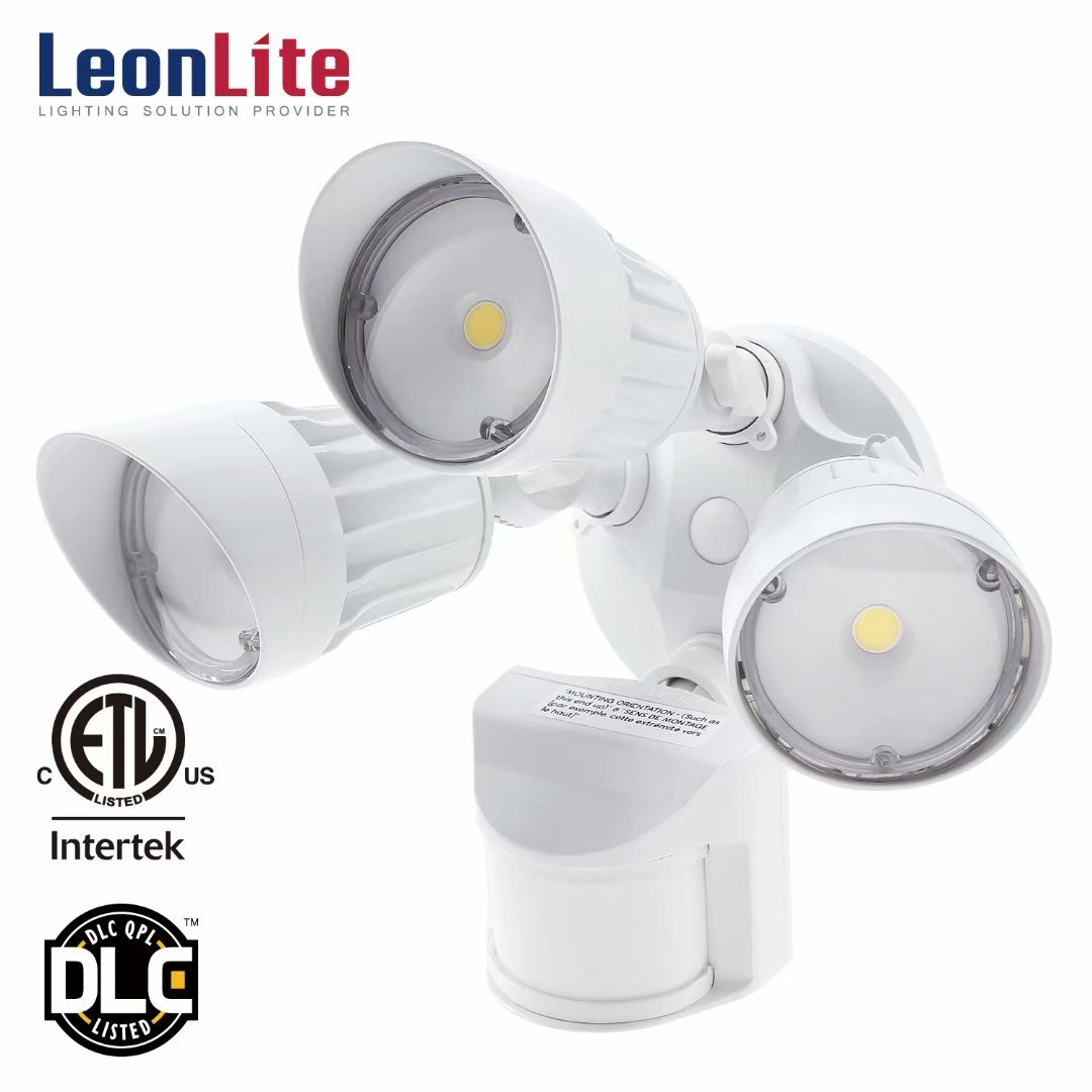 LEONLITE 30W 3-Head Security Lights Motion Activated, LED Outdoor Security Light for Entryways, Patios, Decks, Stairs, 5000K Daylight, White