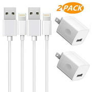 iPhone Charger 2-Pack Charging Cable and USB Wall Charger Power Adapter Plug Block Compatible iPhone X/8/8 Plus/7/7 Plus/6/6S/6 Plus/5S/SE/Mini/Air/Pro Cases, White