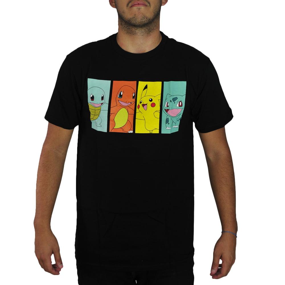 Pokemon Pikachu & Kanto Starters Men's Black T-shirt New Sizes M-XL by Tee Trade