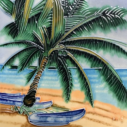 Continental Art Center Palm with Boats Tile Wall Decor