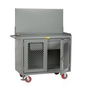 LITTLE GIANT MBP2D-HDFL-PB Bench Cabinet,Pegboard,Drawer,Steel Top