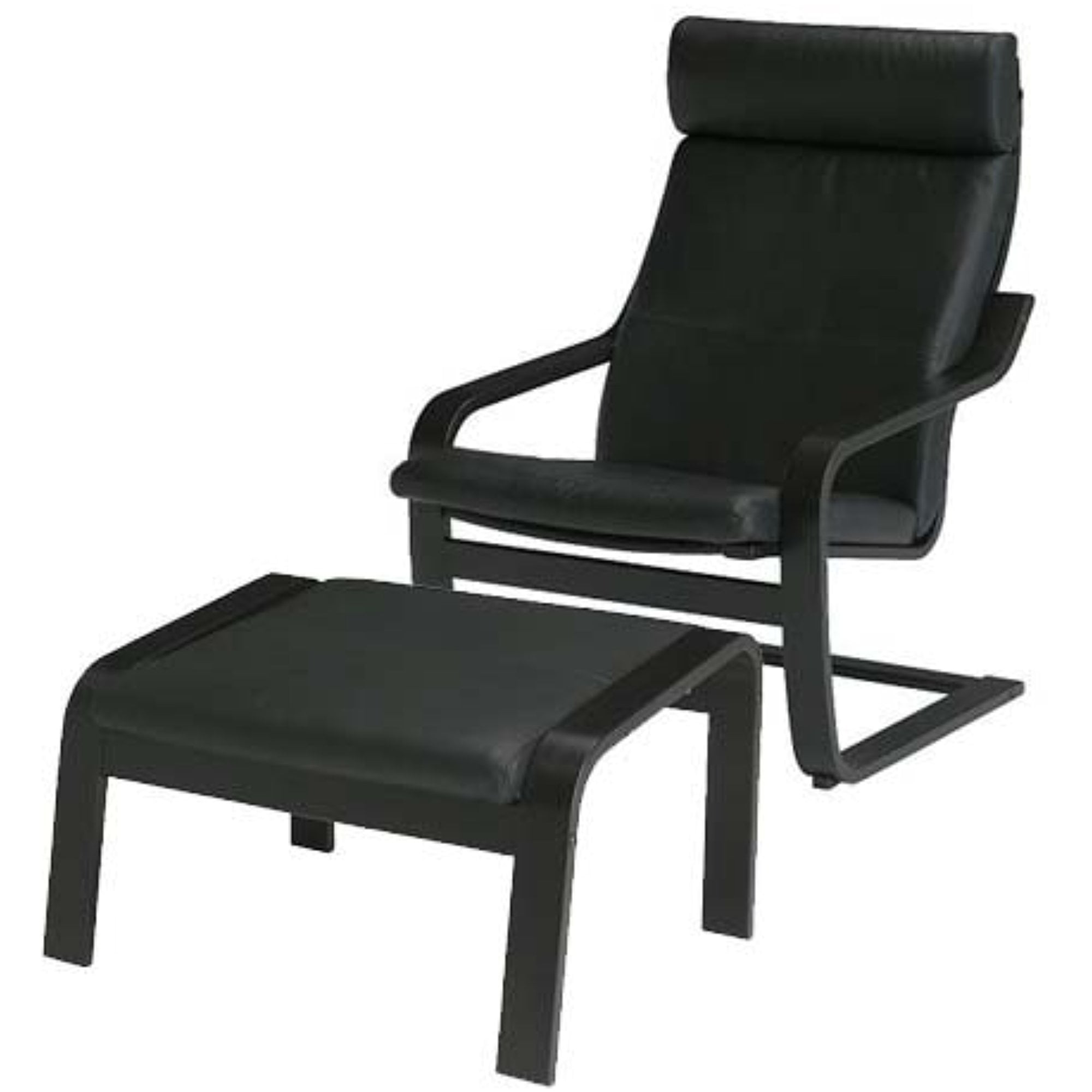Ikea Poang Chair Armchair and Footstool Set with Black ...