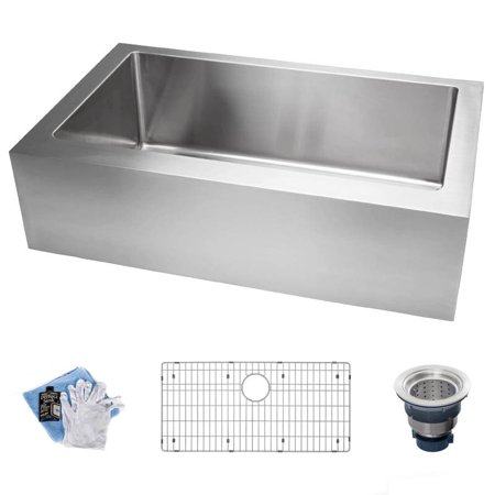 Miseno Mss3320ff 16 Gauge Stainless Steel 33 Single Basin Kitchen Sink For Farmhouse Installations With Sound Dampening
