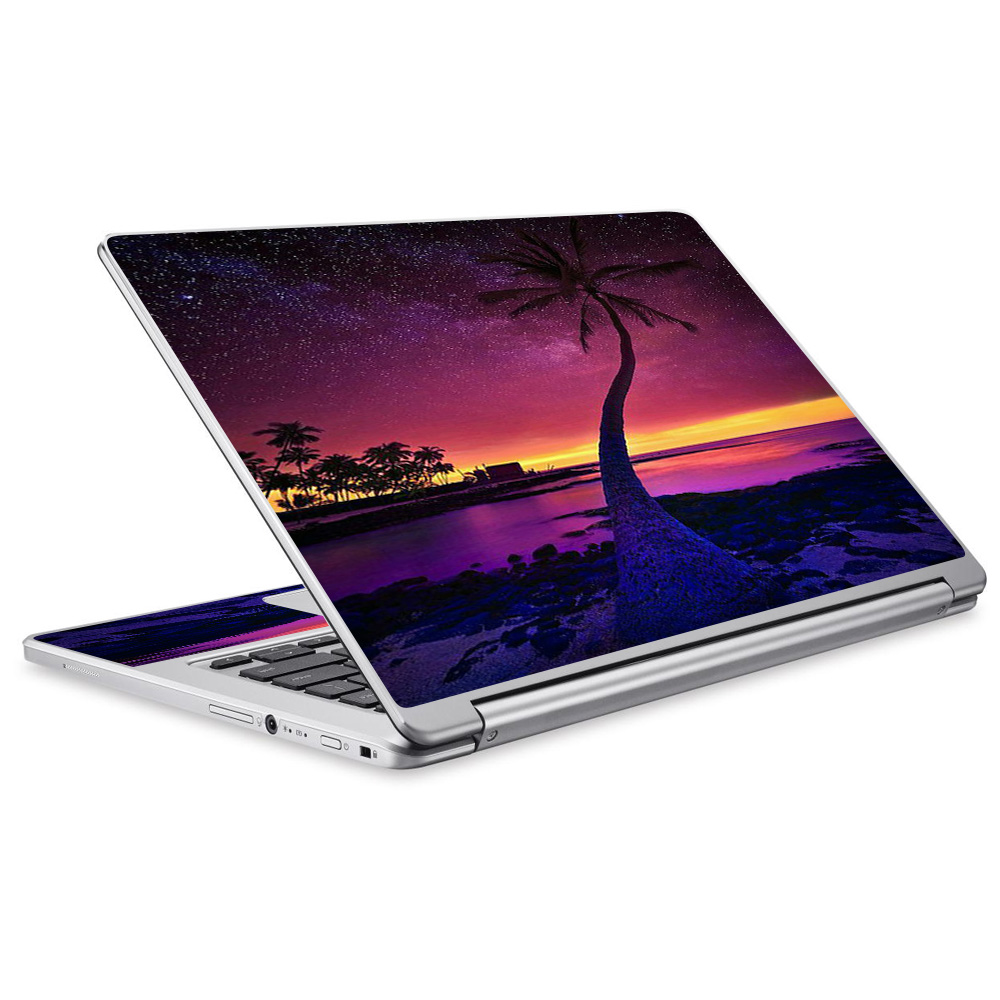 Skins Decals For Acer Chromebook R13 Laptop Vinyl Wrap / Palm Tree Stars And Sunset Purple