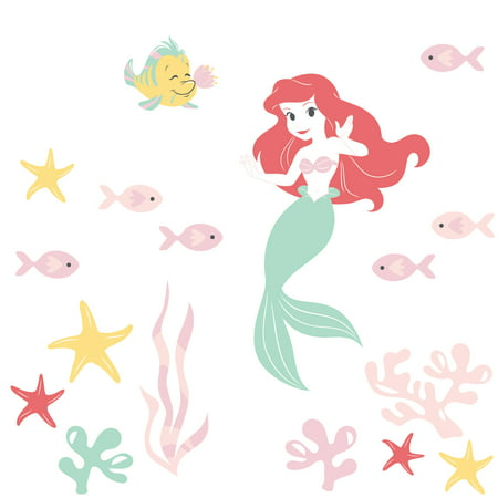 Disney Baby Ariel's Grotto Red/Pink Mermaid Wall Decals by Lambs &