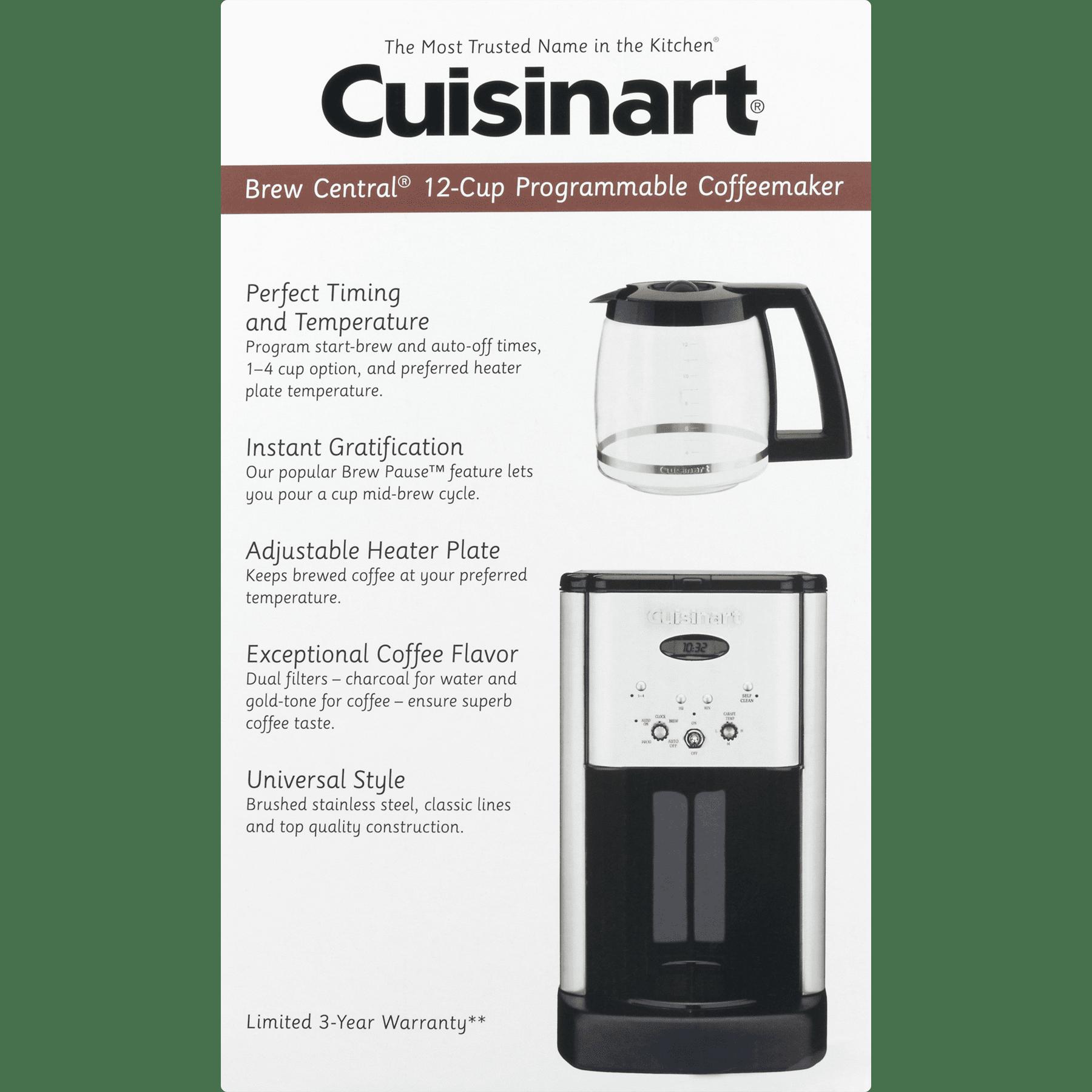 Cuisinart Brew Central 12 Cup Programmable Stainless Steel Coffee Maker Walmart Com Walmart Com