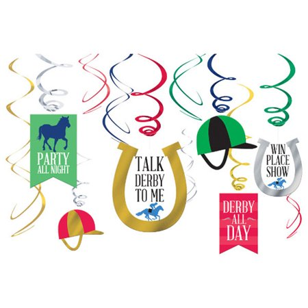 Kentucky Derby Hanging Swirl Decorations (12pc) - Kentucky Derby Decorations Ideas