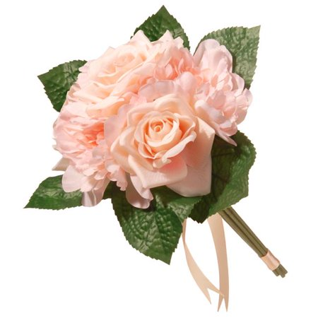 12.2 in. Mixed Peach Rose & Peony Bouquet ()