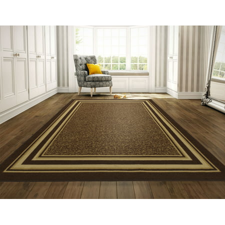 Ottomanson Ottohome Collection Contemporary Bordered Design Non-Slip Rubber Backing Area or Runner Rug