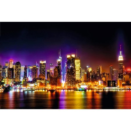 Manhattan Skyline Reflections Photo Art Print Poster 36x24 inch