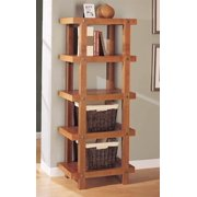 Robust Five Tier Shelf in Oak Stained Finish