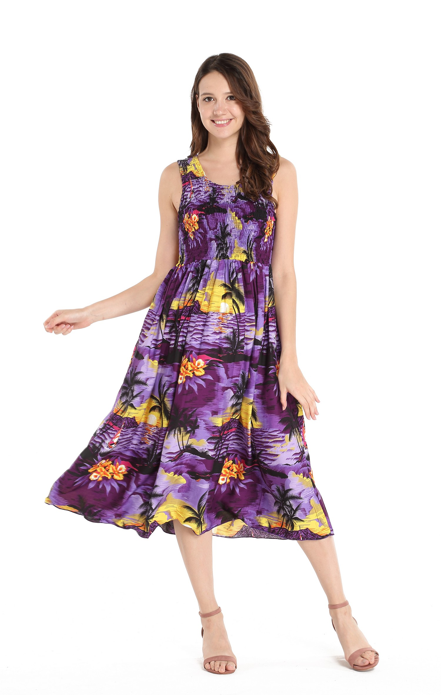 3295d7054b1 Matching Mother Son Hawaiian Luau Outfit Tank Elastic Dress Shirt in Purple  Sunset Women One size Boy 6