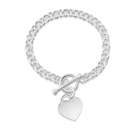 - Italian Made Solid Sterling Silver Heart Toggle Bracelet