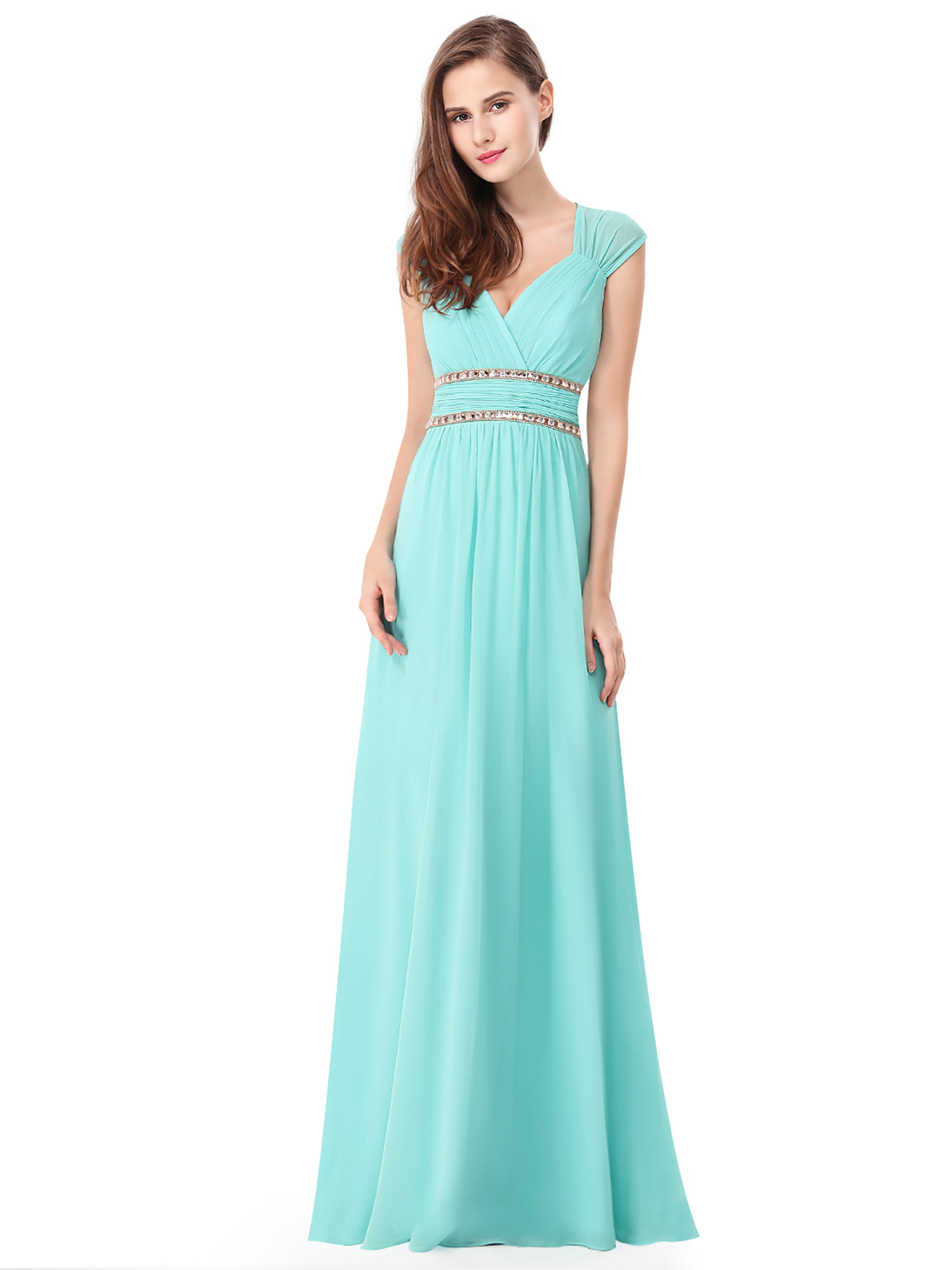 Ever-Pretty Women's Elegant Long V-neck Evening Party Maxi Dresses for Women 08697 (Aqua 4 US) by Ever Pretty Garment Inc