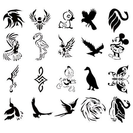 Self Adehsive Airbrush Tattoo Stencil Set Book of 20 Bird Designs - Tattoos Of Birds