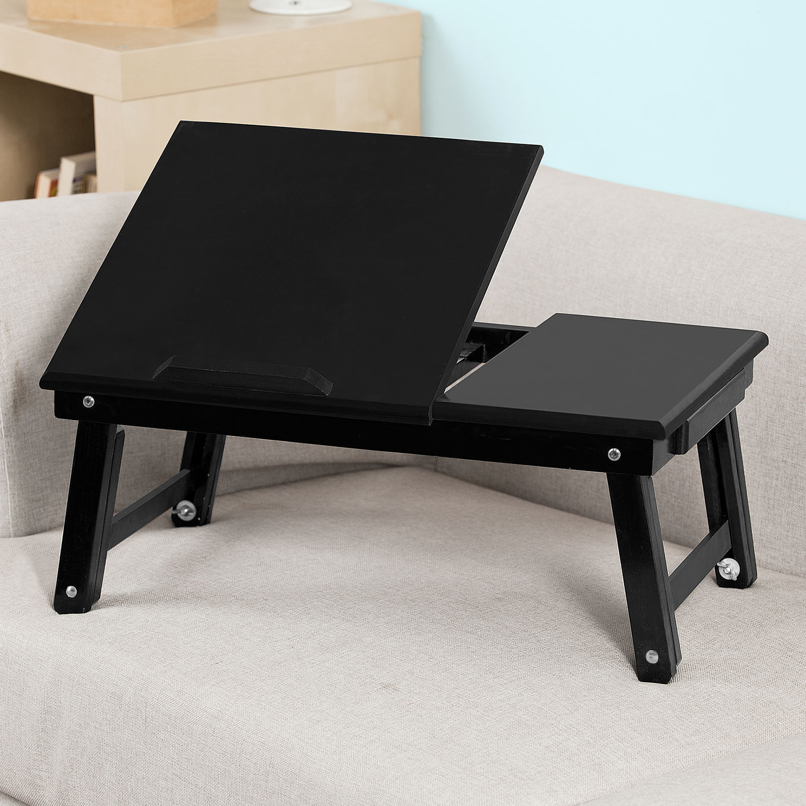 Haotian Wood Foldable Notebook Laptop Table,Folding Food Bed Lap Top Tray Table Desk,FBT02-SCH