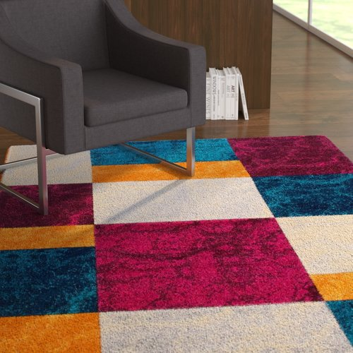 Ebern Designs Dufresne Geometric Purple/Yellow Area Rug