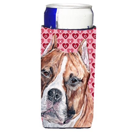 Staffordshire Bull Terrier Staffie Hearts and Love Ultra Beverage Insulators for slim cans SC9704MUK