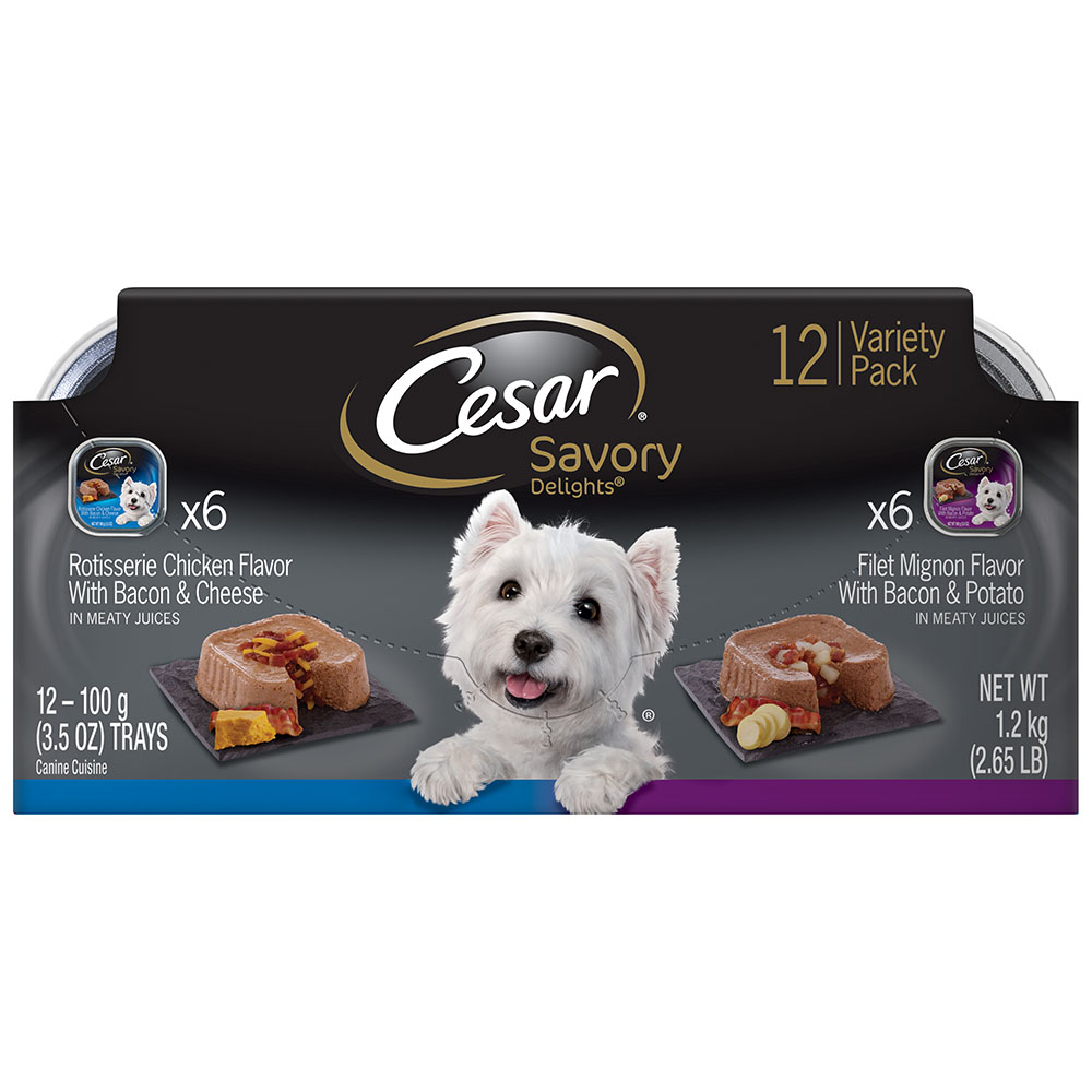CESAR SAVORY DELIGHTS Variety Pack Rotisserie Chicken & Filet Mignon Dog Food (12 Count)