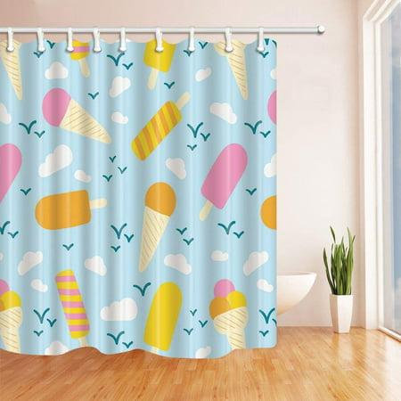 BPBOP Summer Decor Cartoon Ice Cream in Blue Polyester Fabric Bathroom Shower Curtain 66x72 inches