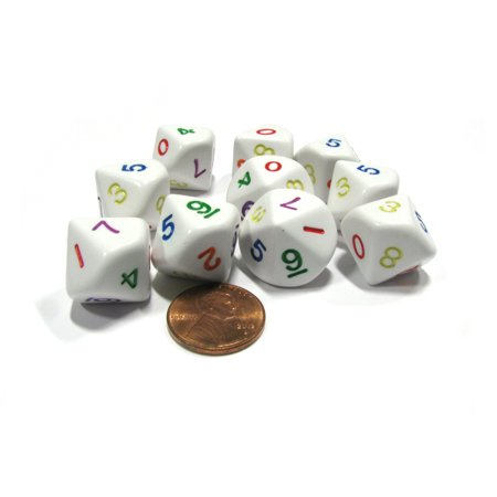 Koplow Games Set of 10 D10 Ten-Sided Opaque Numbered Dice, 0-9 - White with Multicolor Number #16780