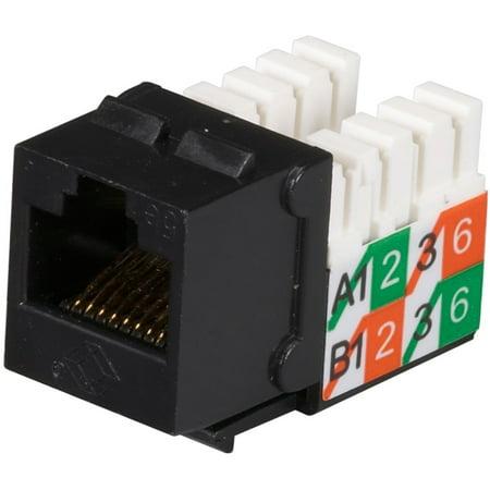 Cat5e Wiring Block - Black Box GigaBase2 CAT5e Jack, Universal Wiring, Black, Single-Pack