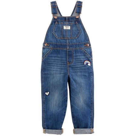 OshKosh B'gosh Little Girls' Rainbow Patch Overalls - Medium - Patch Overalls