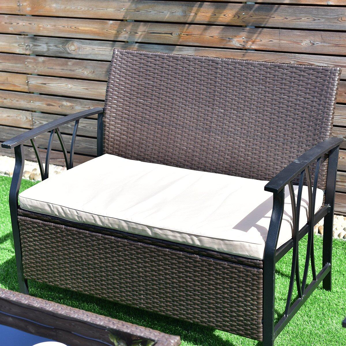 Gymax 4PC Rattan Wicker Furniture Set Cushion Outdoor Patio Garden Deck - image 1 de 5