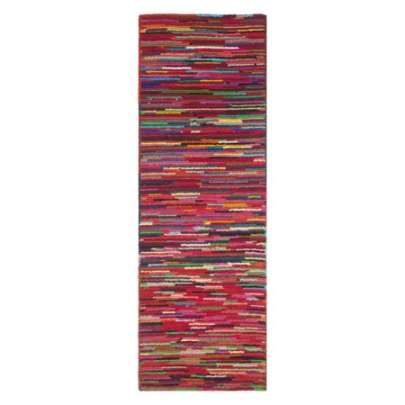 Safavieh Nantucket Tanzil Hand Tufted Cotton Runner Rug, Pink and Multi-Colored