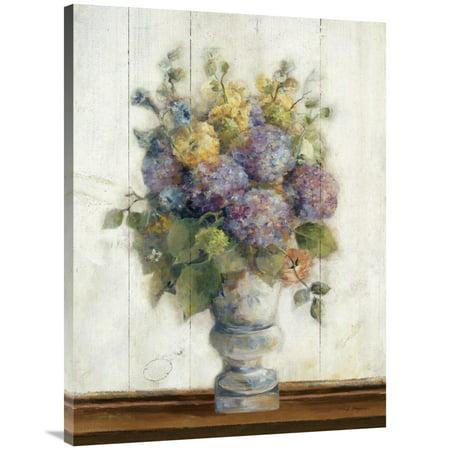 (Global Gallery's 'Dreamy Hydrangea I on Birch' By Marilyn Hageman Stretched Canvas Wall Art)