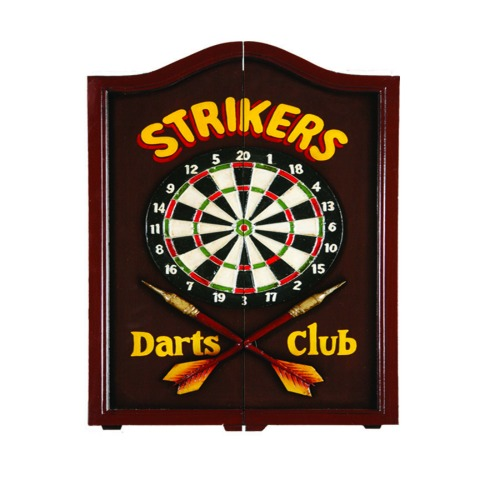 Dartboard Cabinet - Strikers With Chalk Scoreboard