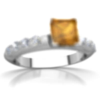 Citrine Engagement Ring in 14K White Gold by