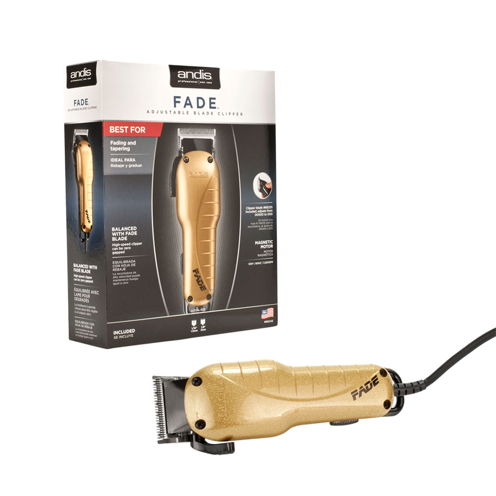 Andis Professional Fade and Tapering Adjustable Blade Barber Hair Clipper + 2 Guides US-1, GOLD, 66245