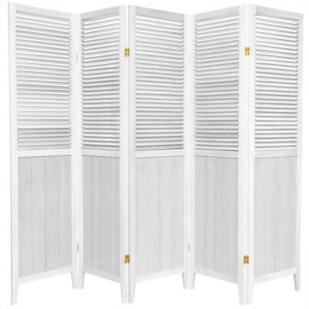 Oriental Furniture 6 Ft Tall Beadboard Room Divider, White, 5 panel ()