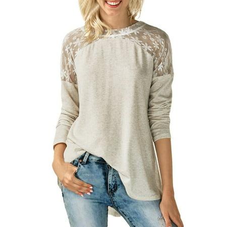 Women's Fashion O Neck Lace Long Sleeve Bowknot Blouse Tops T Shirt