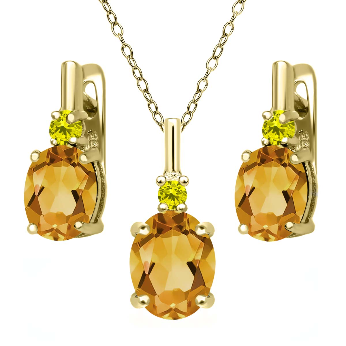 3.52 Ct Yellow Citrine Canary Diamond 18K Yellow Gold Plated Silver Pendant Earrings Set by