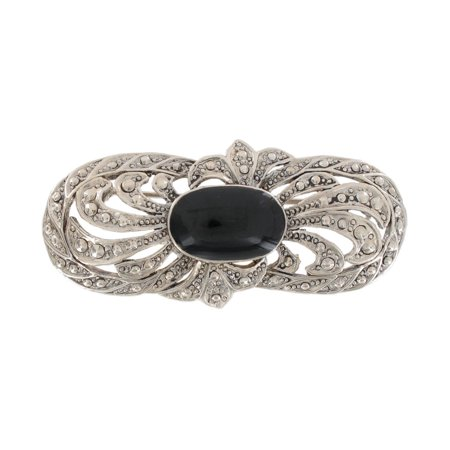 Silver Tone Black Large Oval Art Deco Revival Pin Brooch (Black Cameo Brooch)