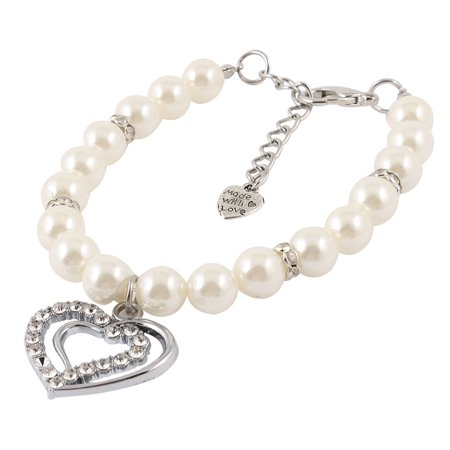 Pet Dog Puppy Imitation Pearl Heart Pendant Decor Collar Necklace White S