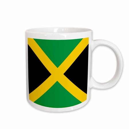 3dRose Flag of Jamaica square - Caribbean Jamaican green black with yellow gold saltire cross - The Cross - Ceramic Mug, 15-ounce