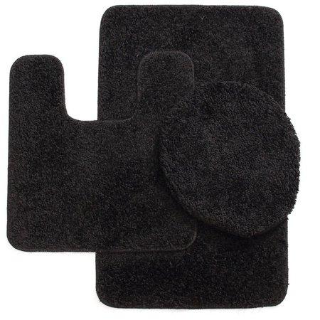 Beaded Bath (3PC #6 BLACK BANDED BATHROOM SET BATH MAT COUNTOUR RUG LID COVER PLAIN SOLID COLORS)