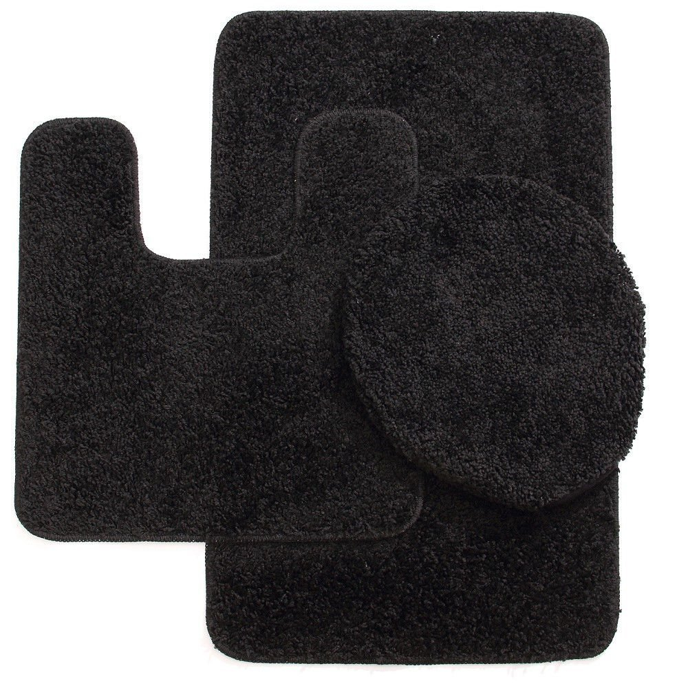 3 Pc BLACK  Bathroom Set Bath Mat RUG, Contour, and Toilet Lid Cover, with Rubber Backing #6