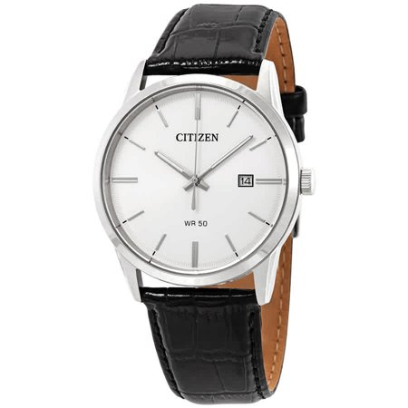 Mens Quartz Dress Watch - Black Leather Strap - Silver/White Dial - Date