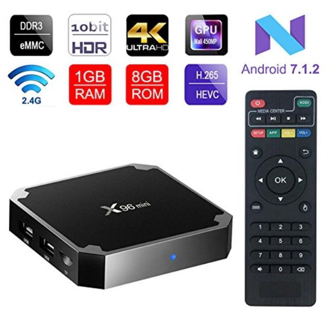 ESHOWEE X96 Mini Android 7.1 TV Box Amlogic S905W Quadcore 64 Bit DDR3 1GB 8GB 4K UHD WiFi and LAN VP9 DLNA H.265